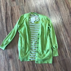 Liz Claiborne green cardigan sweater & top M